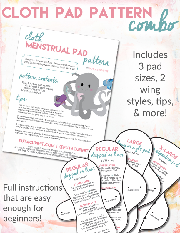 These cloth menstrual pad patterns are perfect for dipping your toes with a starter stash, or going all in! It's easy to follow & includes options for a variety of needs.