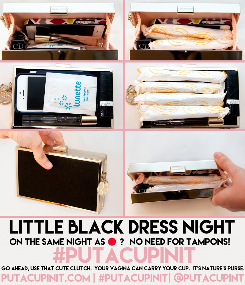Tampons Vs. Menstrual Cups- Little Black Clutch Edition