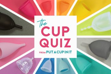 "A rainbow of menstrual cups on matching backgrounds with text that reads ""The Cup Quiz by Put A Cup In It"""